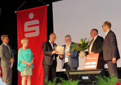 Moderator Gerald Meyer, Heike Böhme, Michael Bräuer Ulrich Dedeleit, Roland Jäkel und Jörg Hawlitzeck, v.l.