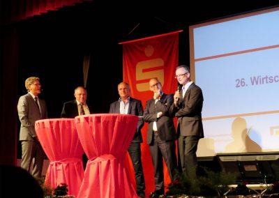Moderator Gerald Meyer, Roland Jäkel, Bert Handschick, Michael Bräuer und Edgar Wippel, v.l.